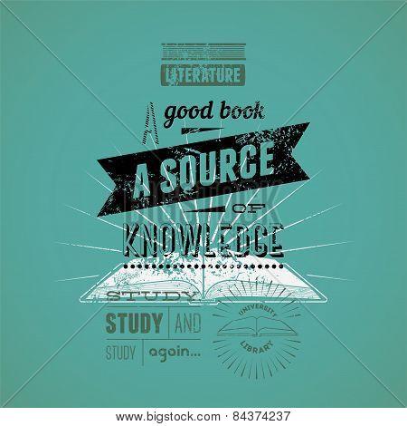 Typography retro bookstore poster design. Vector illustration.