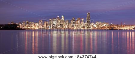 Downtown Seattle Skyline Elliott Bay Puget Sound Office Buildings Night