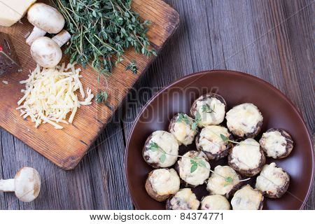 Delicious Stuffed Mushrooms With Meat And Cheese.