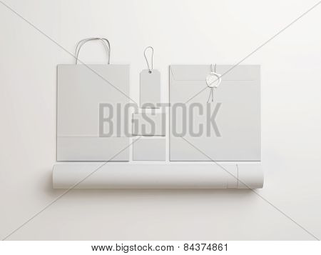 Set Of  White Identity Elements  On White Background