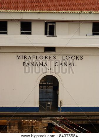 The Miraflores Locks in Panama Canal