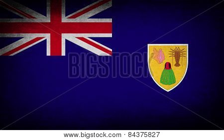 Flag Of Turks And Caicos With Old Texture. Vector