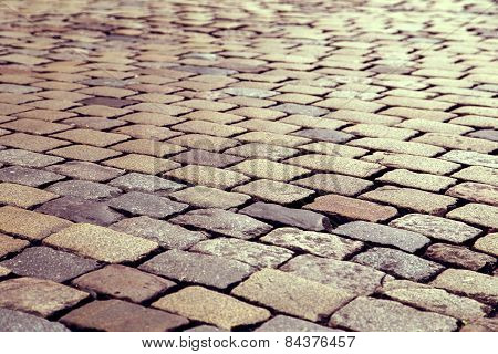 Cobble Stone Road Pattern With Vintage Effect