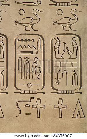 Las Vegas, Usa - March 19: Replica Of Ancient Egyptian Hieroglyphics At Luxor Hotel And Casino On Ma