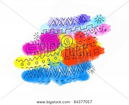 Abstract Color Texture With Graphics