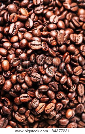 Brown Coffee Beans. Roasted Coffee Beans For Background And Texture. Closeup, Macro.