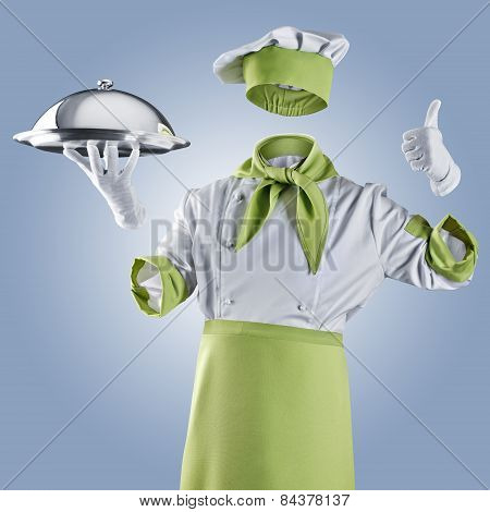 Invisible Chef With Restaurant Cloche Or Tray On A Blue Background