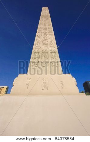 Las Vegas, Usa - March 19: Replica Of Ancient Egyptian Obelisk At Luxor Hotel And Casino On March 19