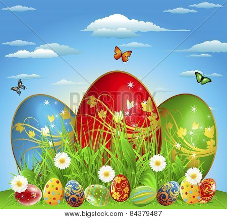 Easter Eggs In The Meadow With Flowers