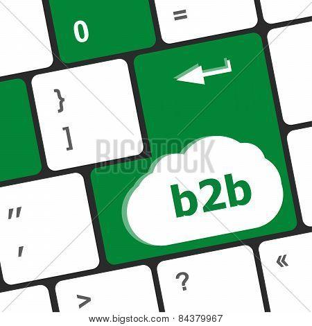 Word B2B On Digital Keyboard Key