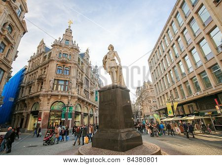 Statue Of The Famous Painter Anthony Van Dyck On The Meir In Antwerp, Belgium