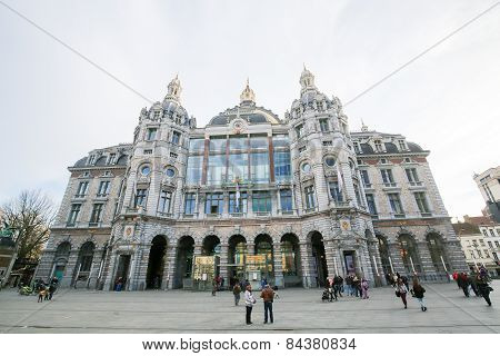 Central Railway Station In Antwerp, Belgium