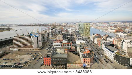Aerial View On The Northern Part Of Antwerp, Belgium, By The River Scheldt
