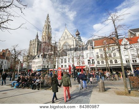 Groenplaats And Cathedral Of Our Lady In Antwerp, Belgium