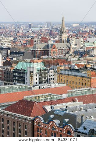 View On The Center Of Antwerp, Belgium, With The Church Of Saint Anthony Of Padua At The Paardenmark