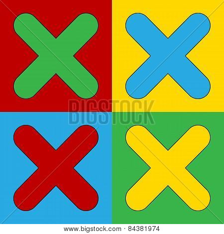 Pop Art Delete Symbol Icons.