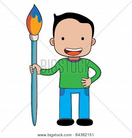 A boy with giant paintbrush