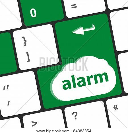 Alarm Button On A Black Computer Keyboard