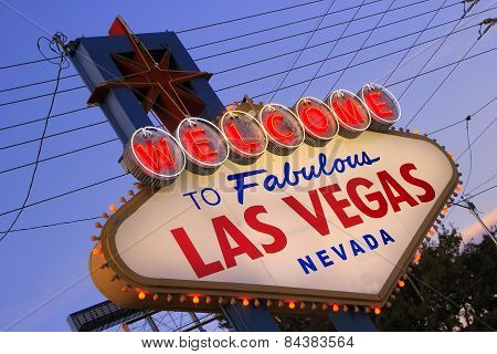 Las Vegas, Usa - March 19: Welcome To Fabulous Las Vegas Sign At Sunset On March 19, 2013 In Las Veg