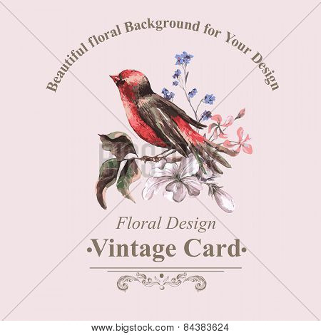 Vintage Floral Card with Bird on Branch