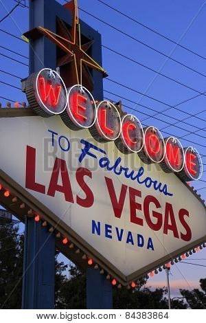 Las Vegas, Usa - March 19: Welcome To Fabulous Las Vegas Sign With Lights On March 19, 2013 In Las V