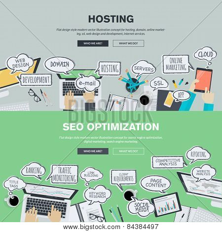 Set of flat design banners for hosting and SEO