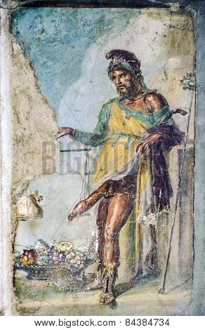 Ancient Roman Fresco Of The Roman God Of Fertility And Lust Priapus