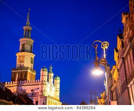Old Market In Poznan, Poland By Night