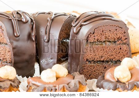 mixed chocolate cake and pastries