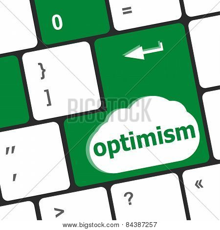 Optimism Button On The Keyboard Close-up