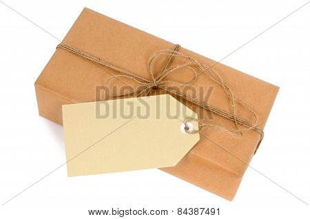 Thin Brown Paper Package With String And Tag