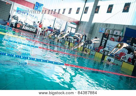 Lecco  (italy) - February 19:    Eleonora Costa  ( Line 4 ) Starting   200 Mt Freestyle In Italian