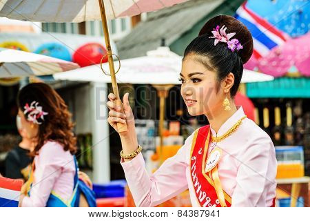 Chiang Mai, Thailand-january 17 : 32Th Anniversary Bosang Umbrella Festival,