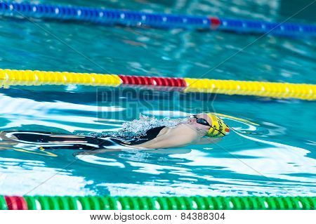 Lecco  (italy) - February 19:    Stefania Cartapani ( Italy)  Performing  200 Mt Breaststroke In Ita