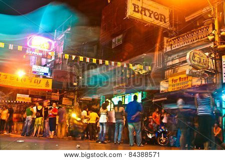 Traveler And Local People Have Party In The Khao San Road