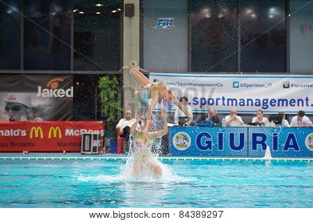 Mantova - February 19:    Bpm Sport Management   Synchronized Swimming Team Performing In Italian Me