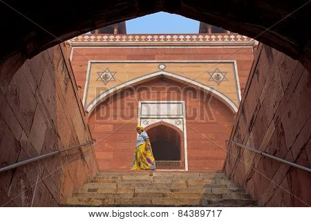 Delhi, India - November 4: Unidentified Woman Walks At Humayun's Tomb On November 4, 2014 In Delhi,