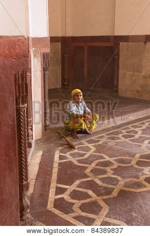 Delhi, India - November 4: Unidentified Woman Sits Inside Humayun's Tomb On November 4, 2014 In Delh