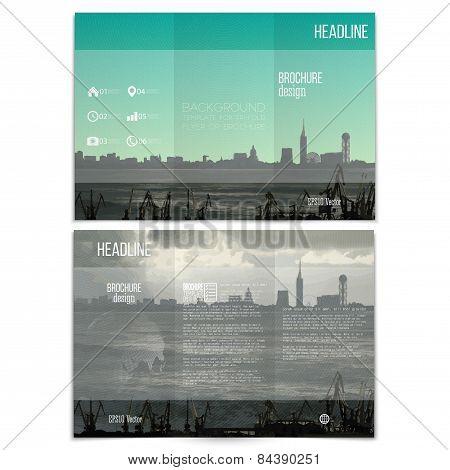 Shipyard and city landscape. Brochure, tri-fold flyer or booklet for business. Modern trendy design