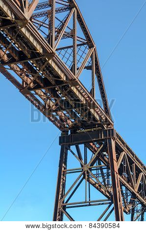 Steel Girder Railroad Bridge with Blue Sky.