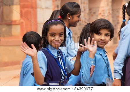 Delhi, India - November 4: Unidentified School Children Visit Humayun's Tomb Complex On November 4,