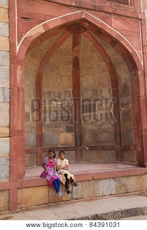 Delhi, India - November 4: Unidentified Girls Sit At Humayun's Tomb Complex On November 4, 2014 In D