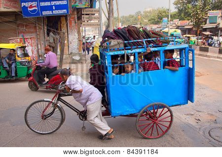 Delhi, India - November 5: Unidentified Kids Take Cycle Rickshaw To School On November 5, 2014 In De