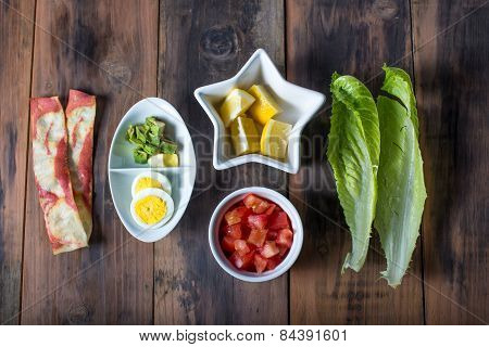 Rustic Table With Deconstructed Cobb Salad