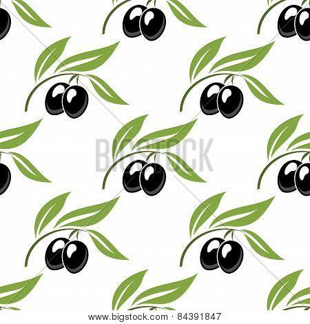 Black olives seamless pattern