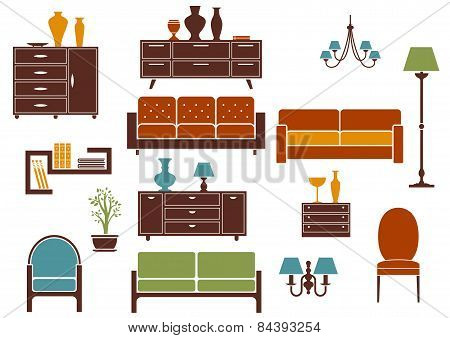 Furniture and home interior flat design elements