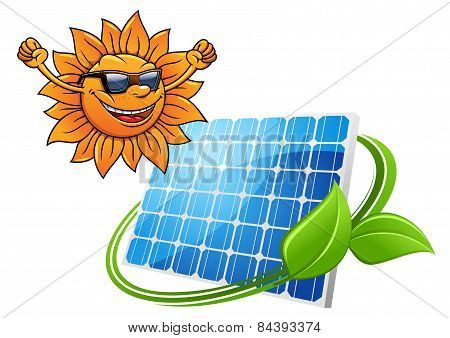 Happy cartoon sun with solar panel