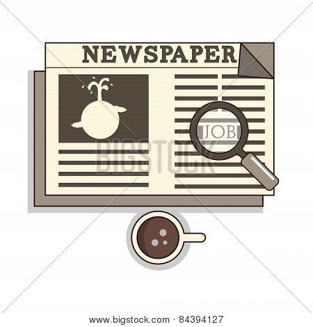 Isolated cartoon oldschool job seeker from newspaper