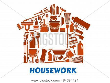 Cleaning tools and supplies in house shape