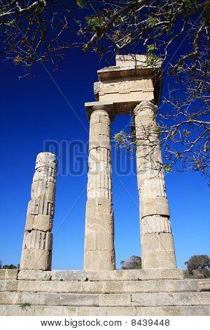 Greece Rhodes Acropolis temple ruins